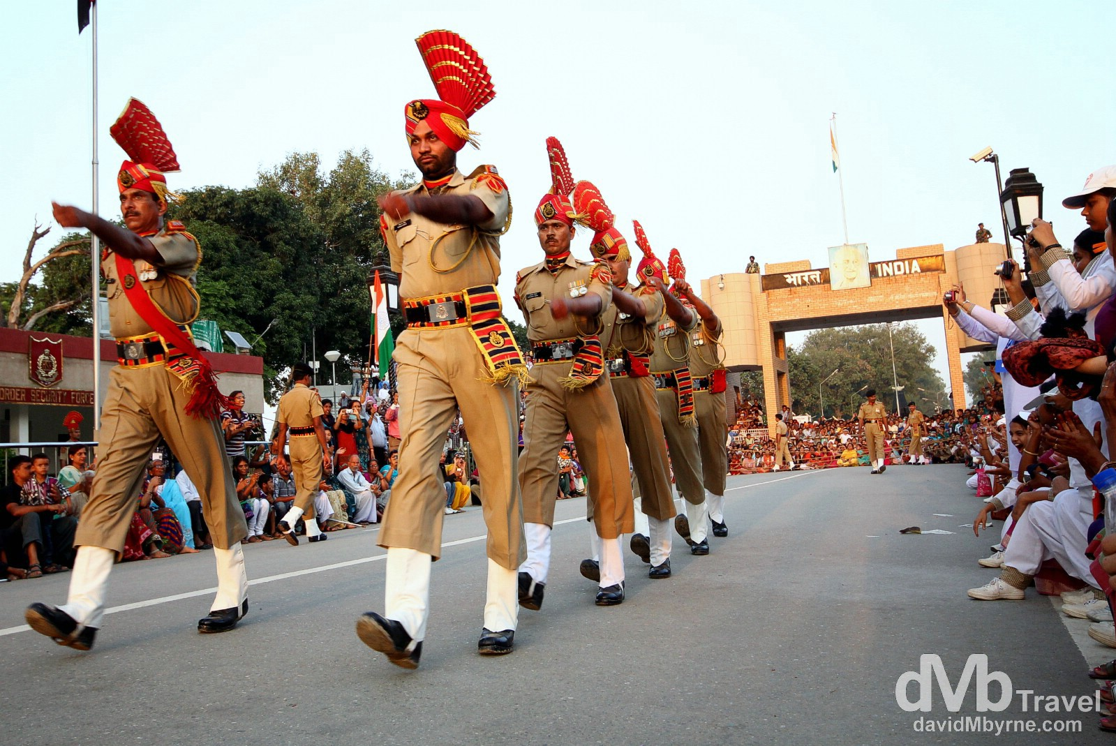 Indian border guards marching to meet their opposite number at the Indian-Pakistani border as part of the nightly ceremonial border crossing. October 9th 2012.