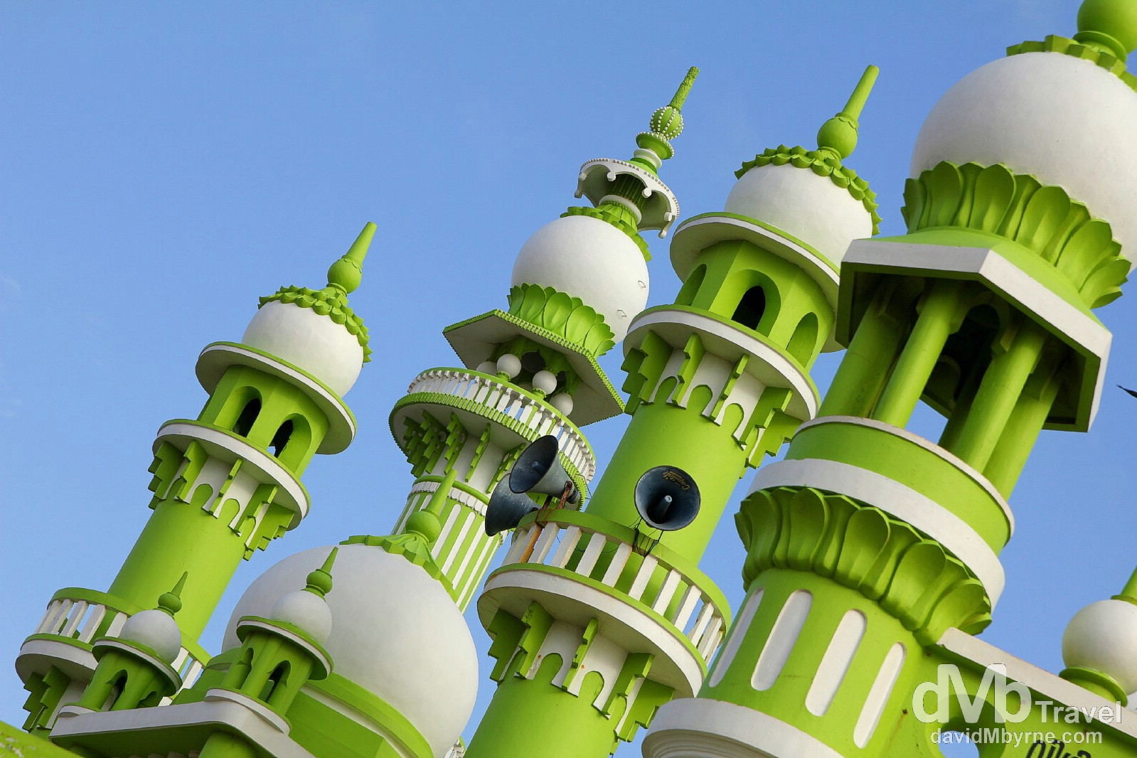 The minarets of the Darga Sherief mosque outside of Kovalam, Kerala, southwestern India. September 13th 2012.
