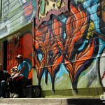 Murals in a lane in the Mission District of San Francisco, California, USA. April 11th 2013.