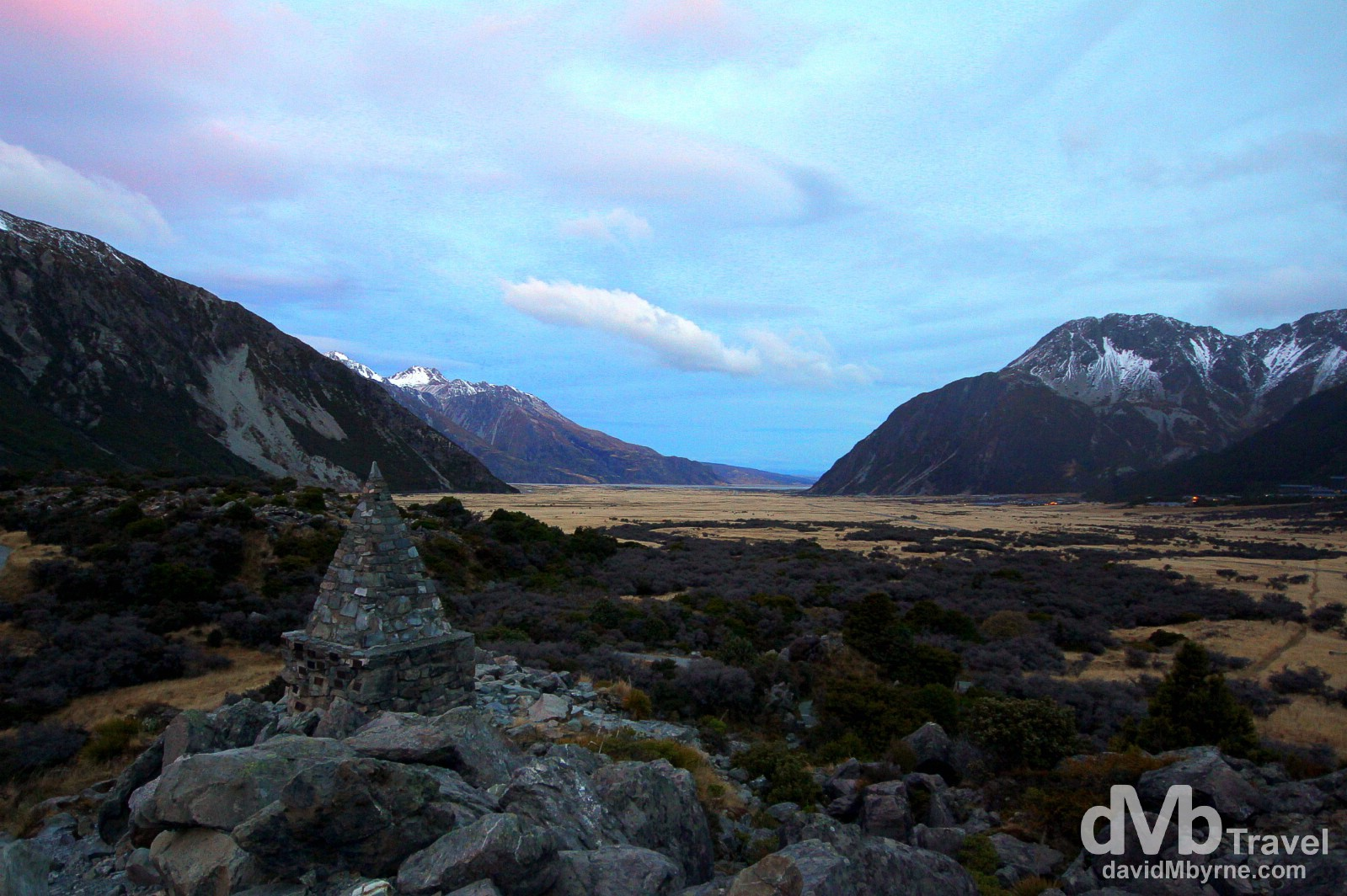 A late evening image of the landscape surrounding Mount Cook Village, Mount Cook National Park, South Island, New Zealand. May 30th 2012.