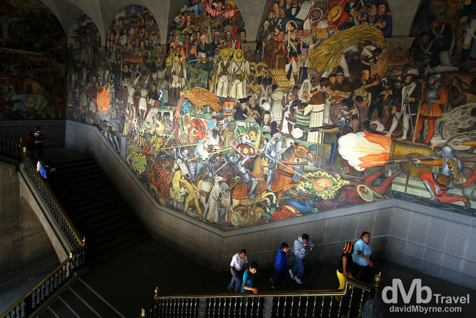 Murals from Diego Rivera, one of Mexico's most famous artists of recent years, adorn the main staircase of the Palacio Nacional (The National Palace), the home of the offices of the Mexican President (Rivera murals can be found in numerous other buildings in the city). Centro Historico, Mexico City. April 28th 2013.