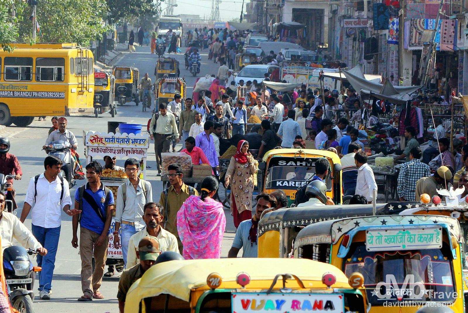 Activity down Nai Sarak as seen from Sadar Market, Old Town, Jodhpur, Rajasthan, India. October 6th 2012.