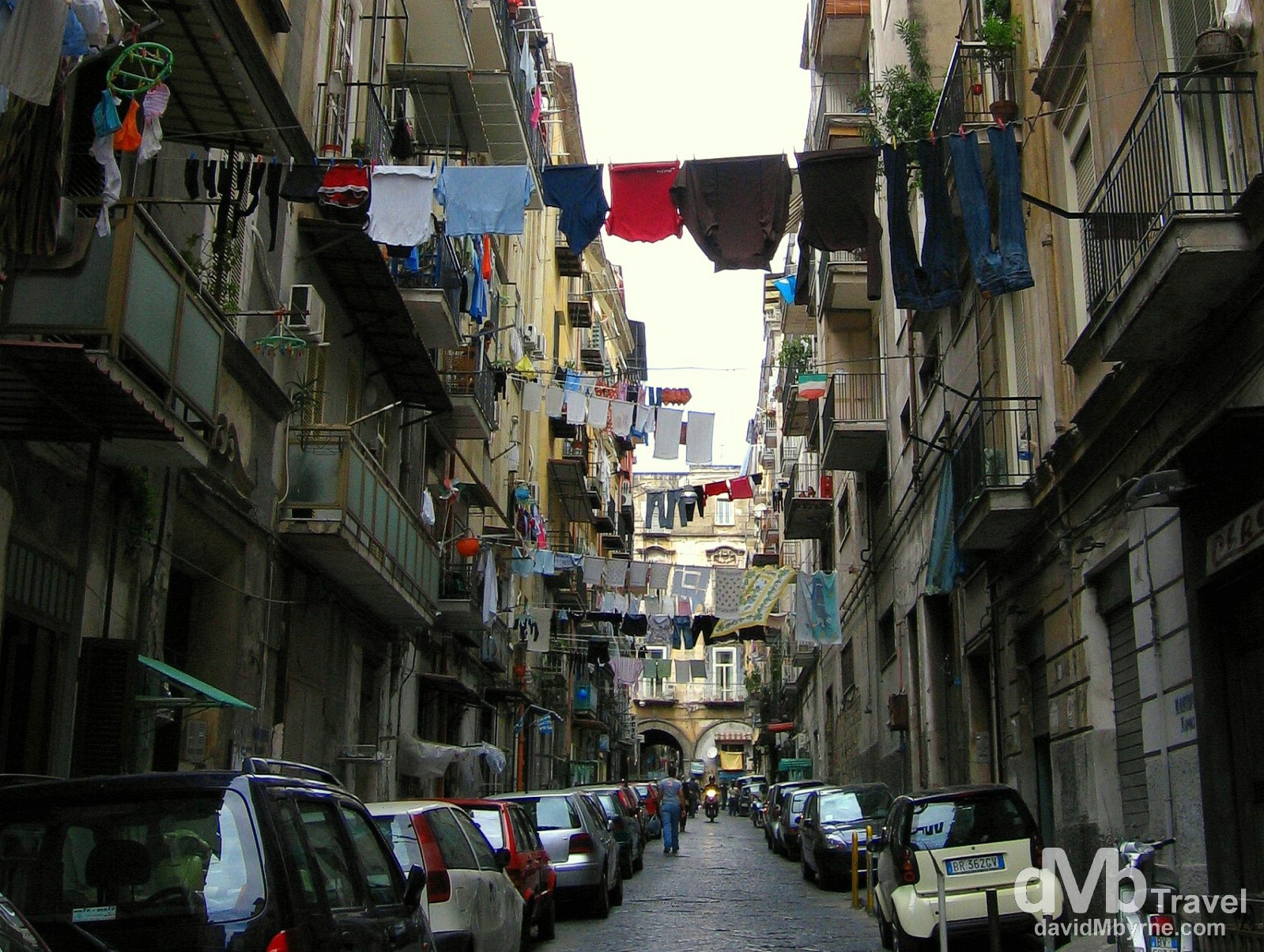 Laundry out to dry in residential lanes in Naples, Italy. September 6th 2007