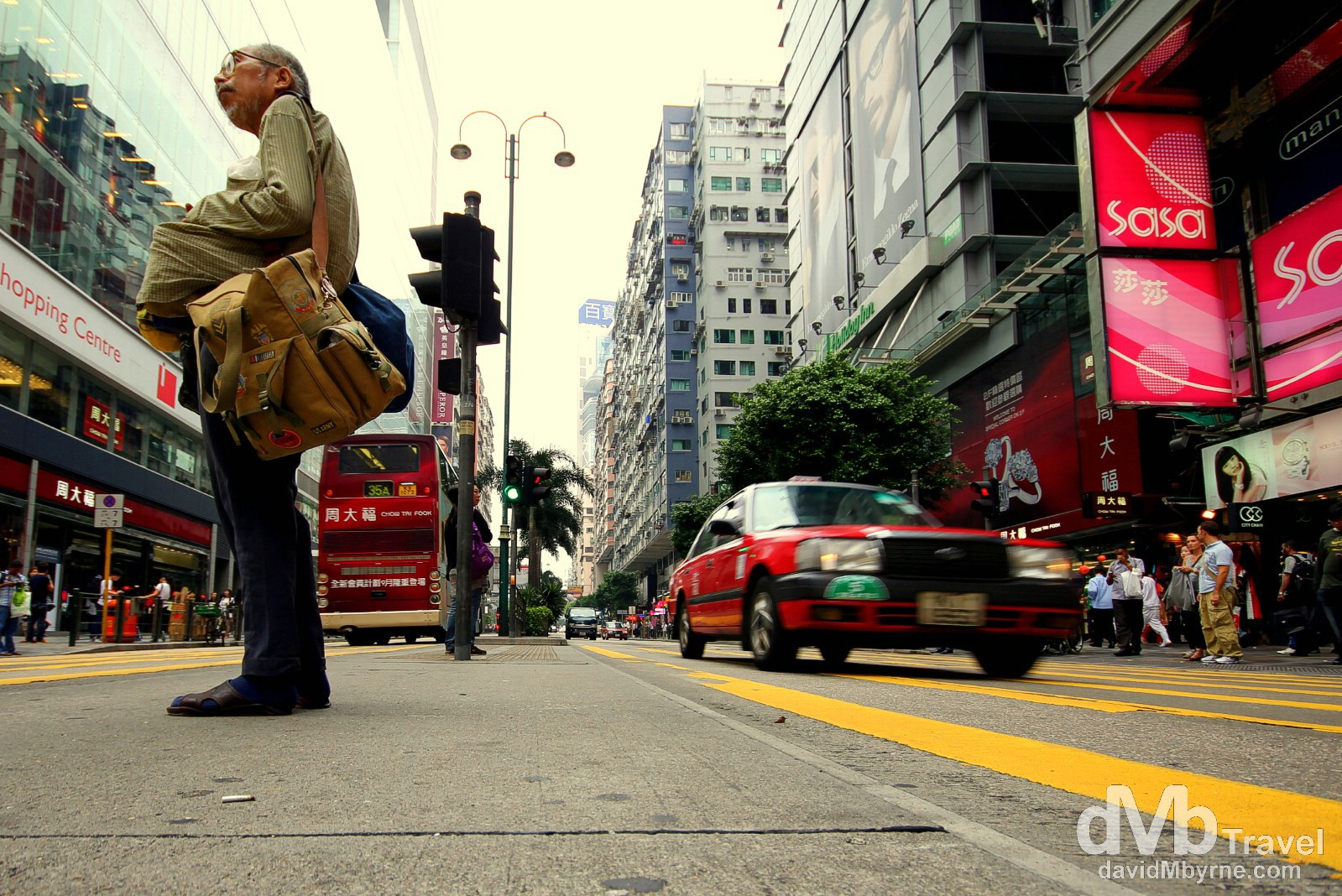 Activity in the middle of a busy Nathan Road, Kowloon, Hong Kong. October 18th 2012.