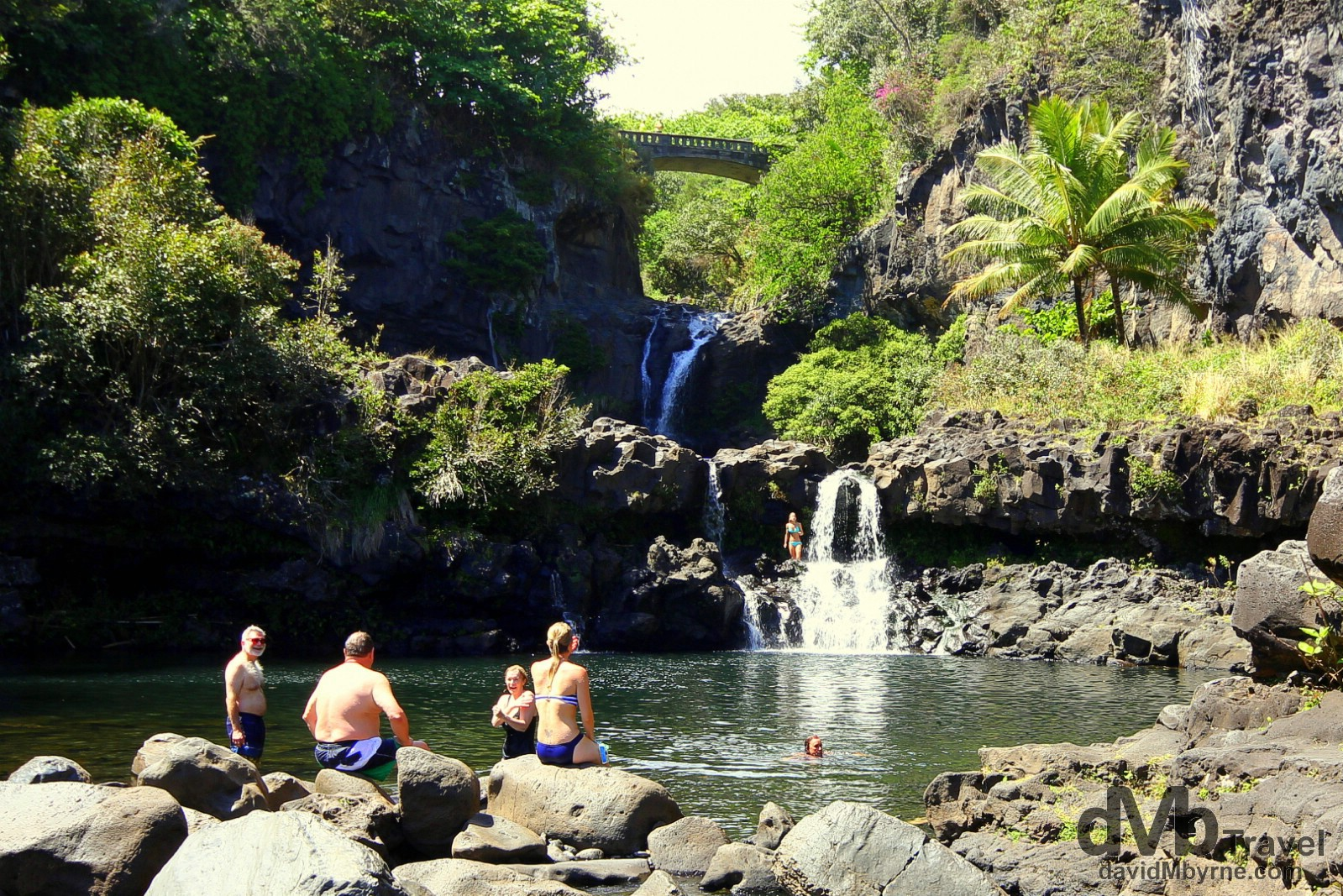 Swimming in the watering holes at Oheo Gulch in Haleakala National Park, near Kuloa Point, Maui, one of the more refreshing stops on Valley Isle Excursion's 'Road To Hana' tour. Maui, Hawaii, USA. March 7th 2103.