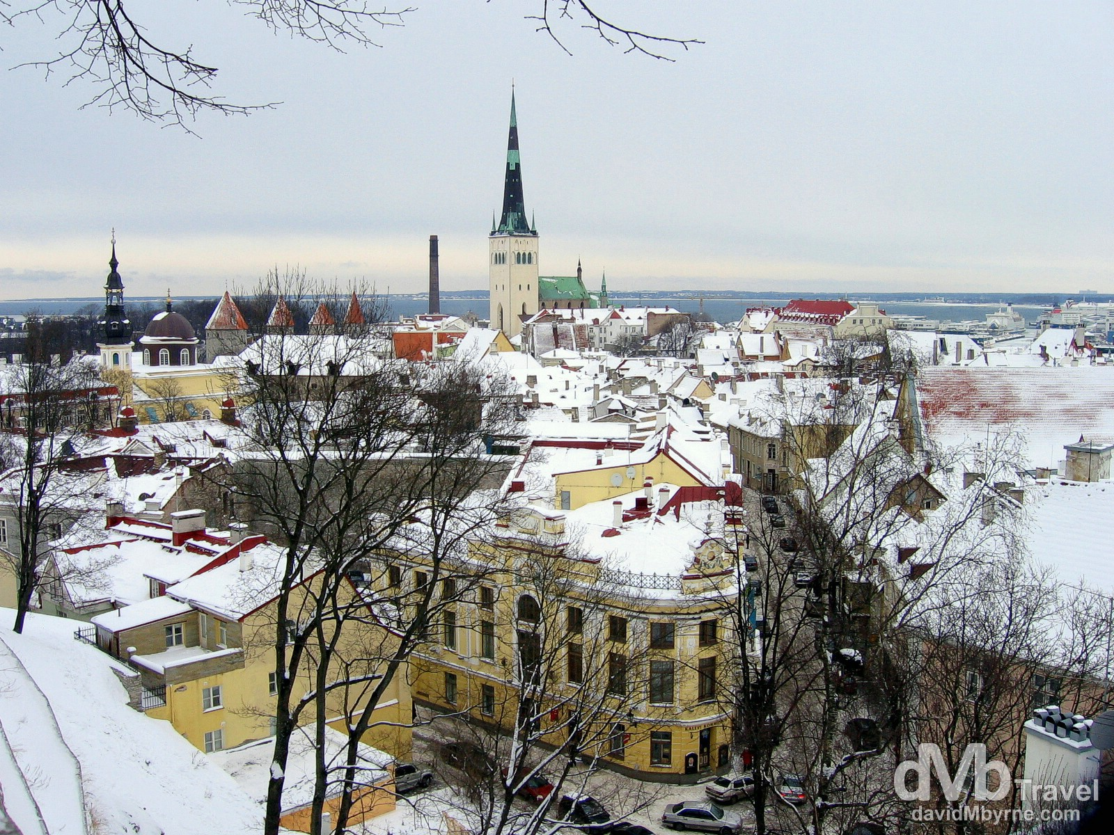 A snowy Old Town Tallinn, Estonia, as seen from a lookout in the Toompea area of the city. March 2, 2006.