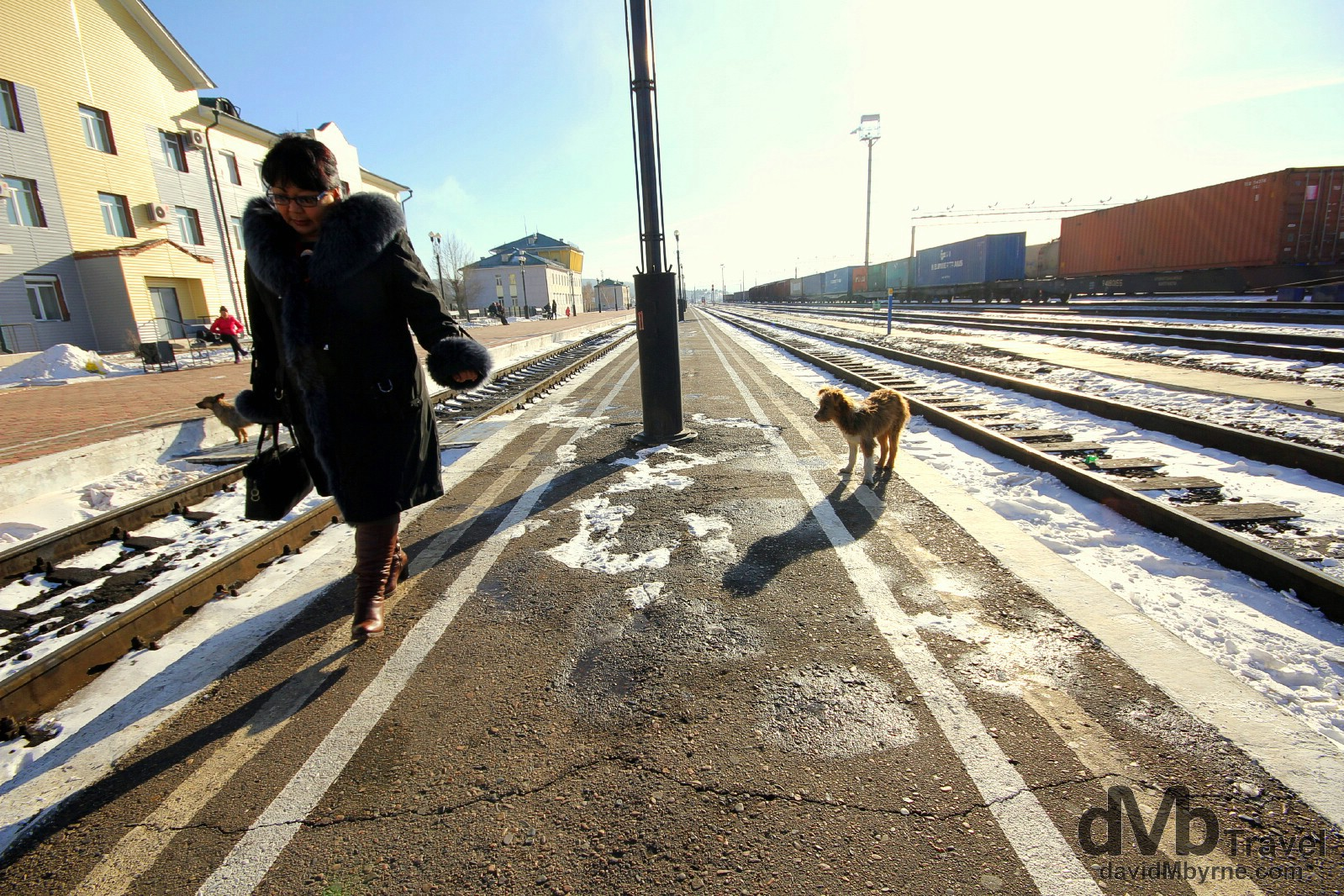On the platform of Naushki train station, the first stop in Russia on the east to west bound Trans Siberian route.  Naushki, Russia. November 5th 2012.