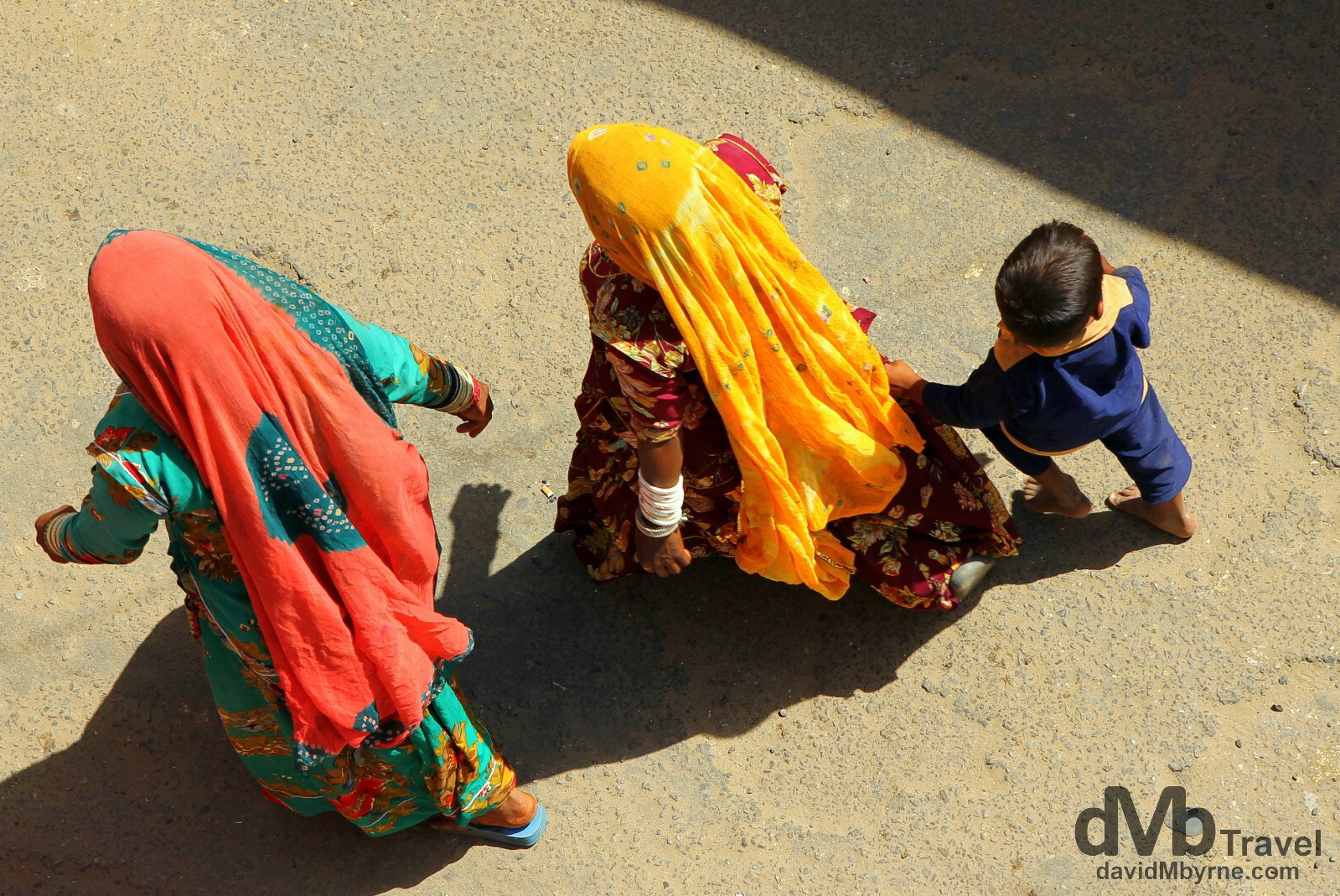 An Aerial shot on the streets of Pushkar, Rajasthan, India. October 3rd 2012.