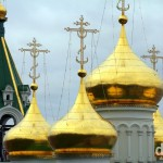 Gold Onion Domes. Nizhny Novgorod, Russia. November 14th 2012.