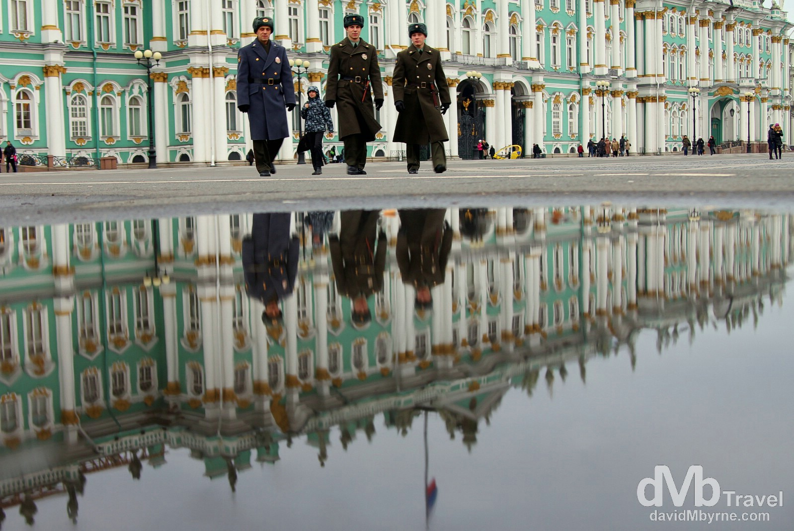 Reflections in Palace Square, St Petersburg, Russia. November 21st 2012.