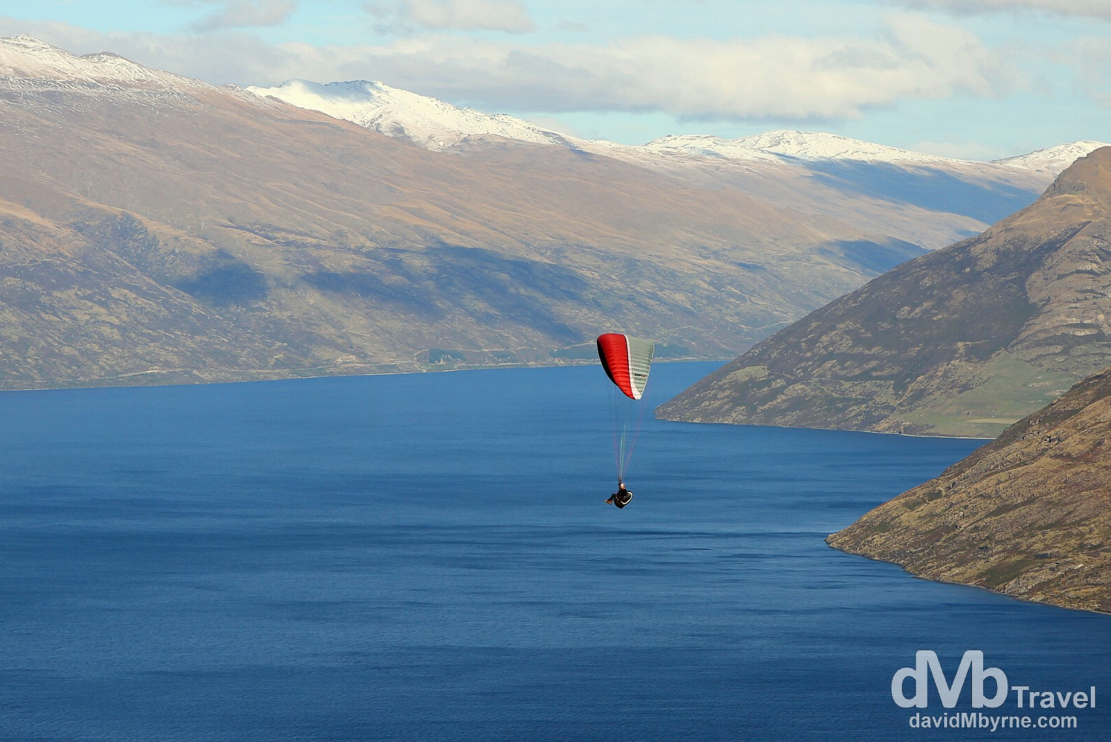 Paragliding over Lake Wakatipu, Queenstown, South Island, New Zealand. May 23rd 2012.