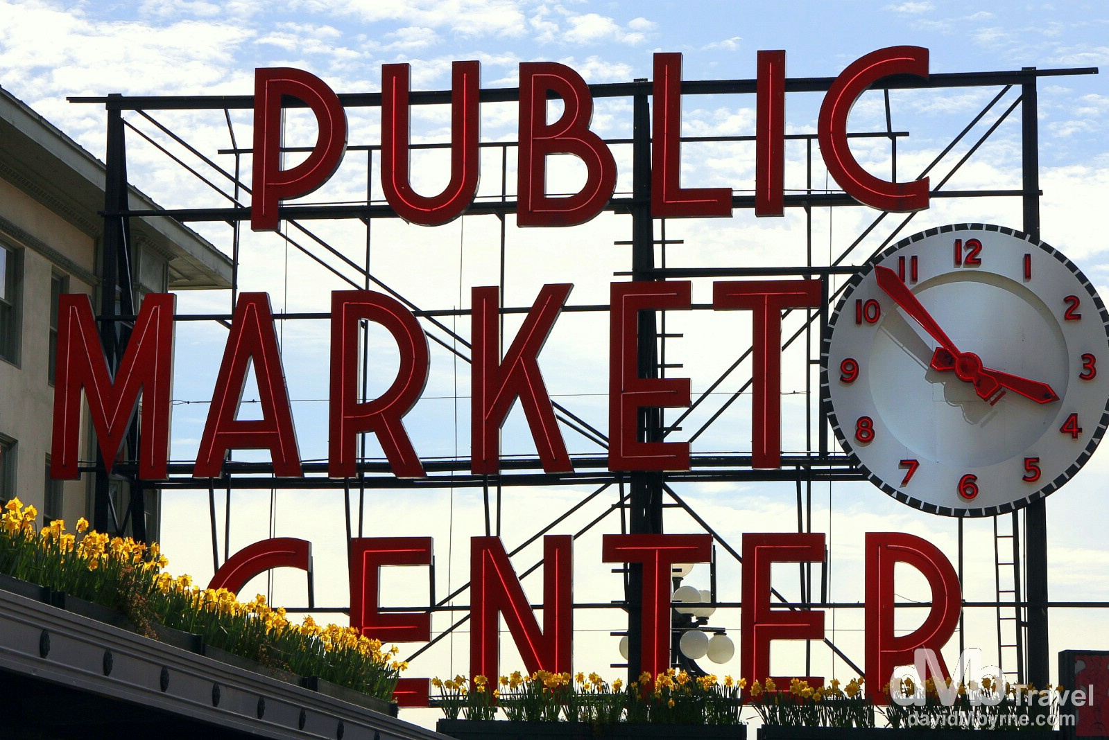 The famous Pike Place Market sign in Seattle, Washington, USA. March 25th 2013.
