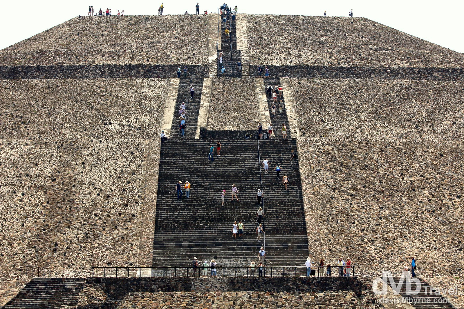 Scaling the Piramide del Sol (Pyramid of the Sun), the third largest pyramid in the world. Teotihuacan, Mexico. April 29th 2013.