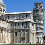 A section of Pisa Cathedral & its Campanile, aka The Leaning Tower, in the Piazza dei Miracoli (Square of Miracles) in Pisa, Tuscany, Italy. August 31st, 2007.