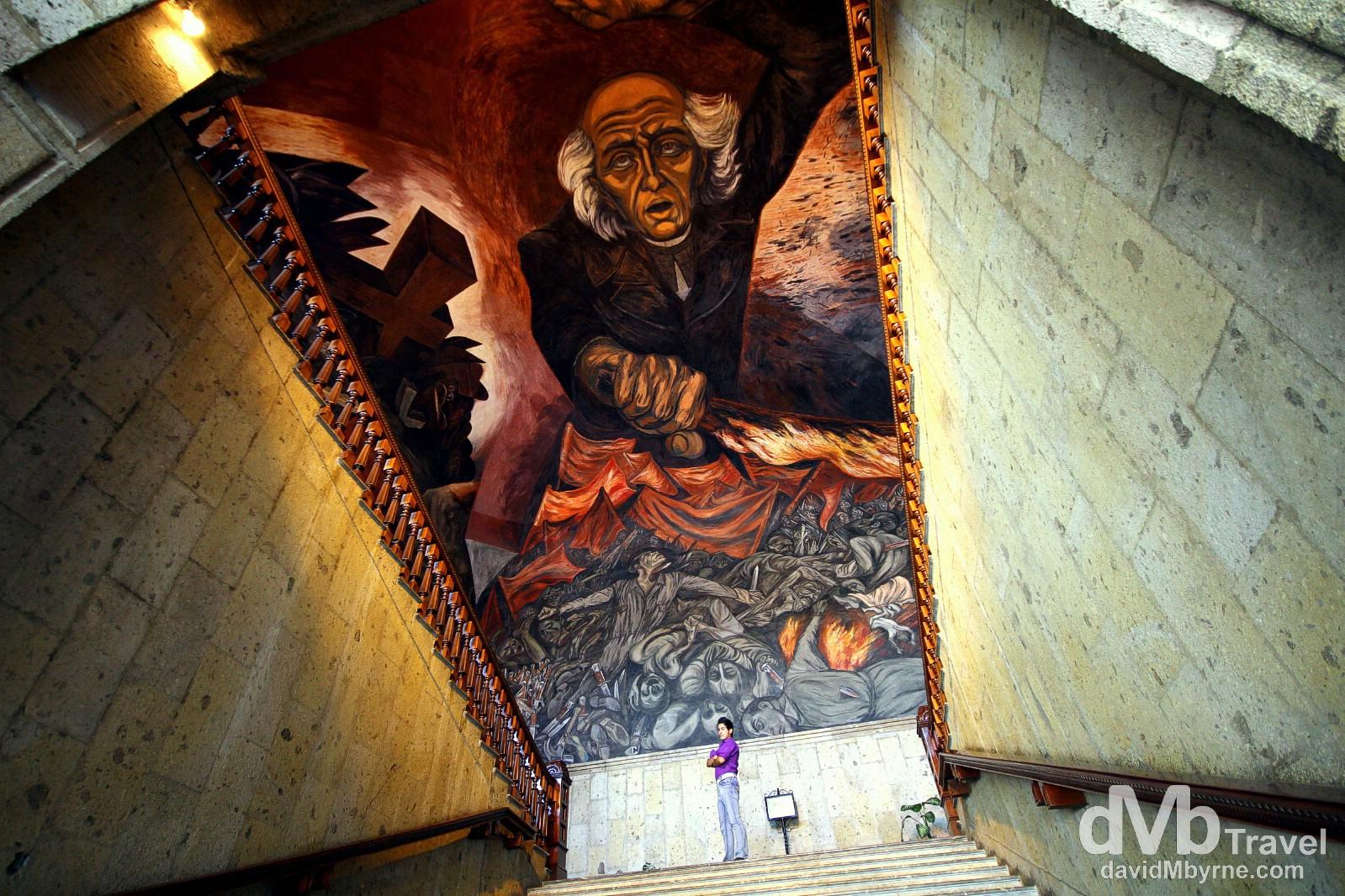 The Jose Clemente Orozoc mural of Miguel Hidalgo in the Placio de Gobierno, Guadalajara, Mexico. April 20th 2013.