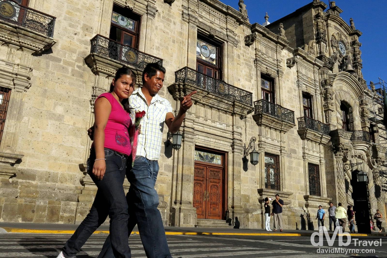 Crossing Avenue Corona in front of Placio de Gobiernog, Guadalajara, Mexico. April 21th 2013.
