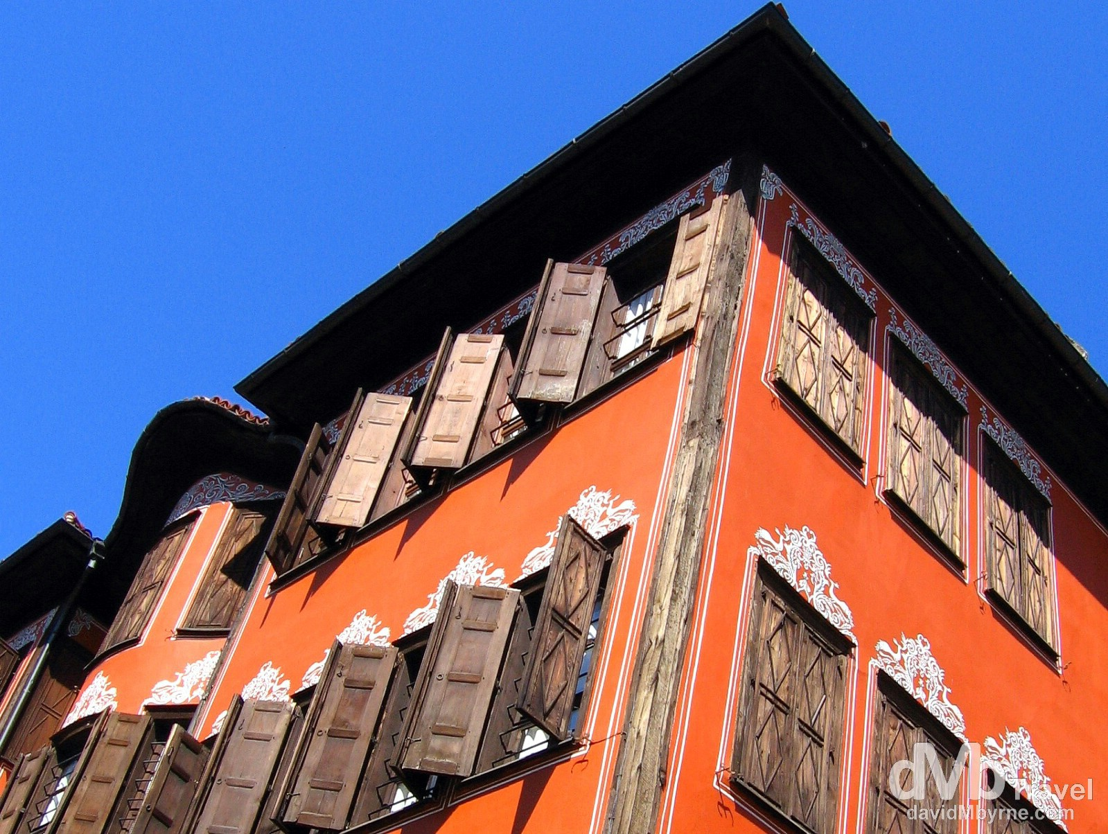 Colourful buildings in Old Town, Plovdiv, Bulgaria. September 17th, 2007.