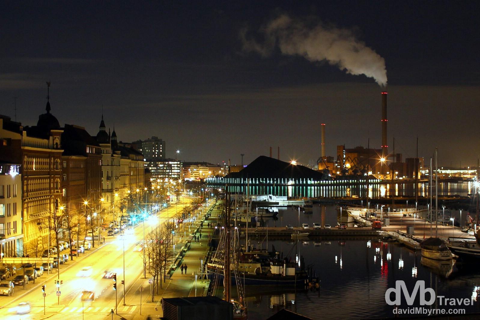 A night time view along Pohjoisranta (street) towards eastern Helsinki from the grounds of the Finnish Orthodox Uspenski Cathedral. Helsinki, Finland. November 24th 2012.
