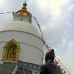 A Buddhist stupa on a hill in Lake Pokhara, Pokhara, Nepal. March 9th 2008.