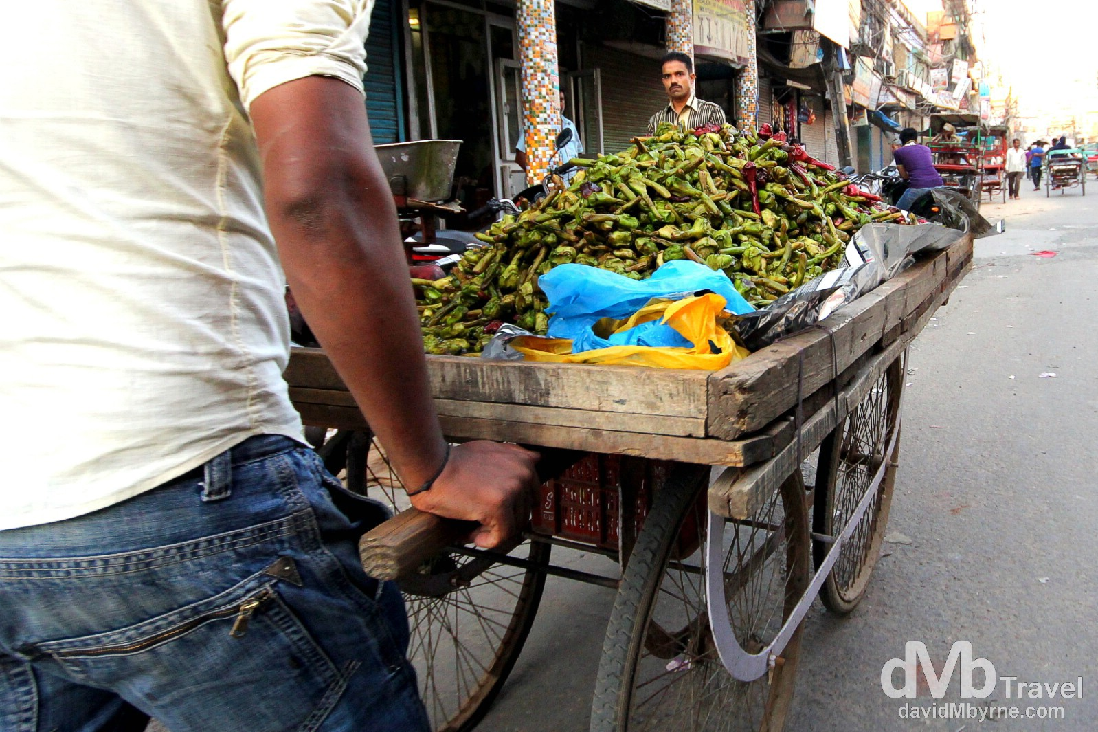 A produce cart on the streets of Old Delhi, Delhi, India. October 7th 2012.