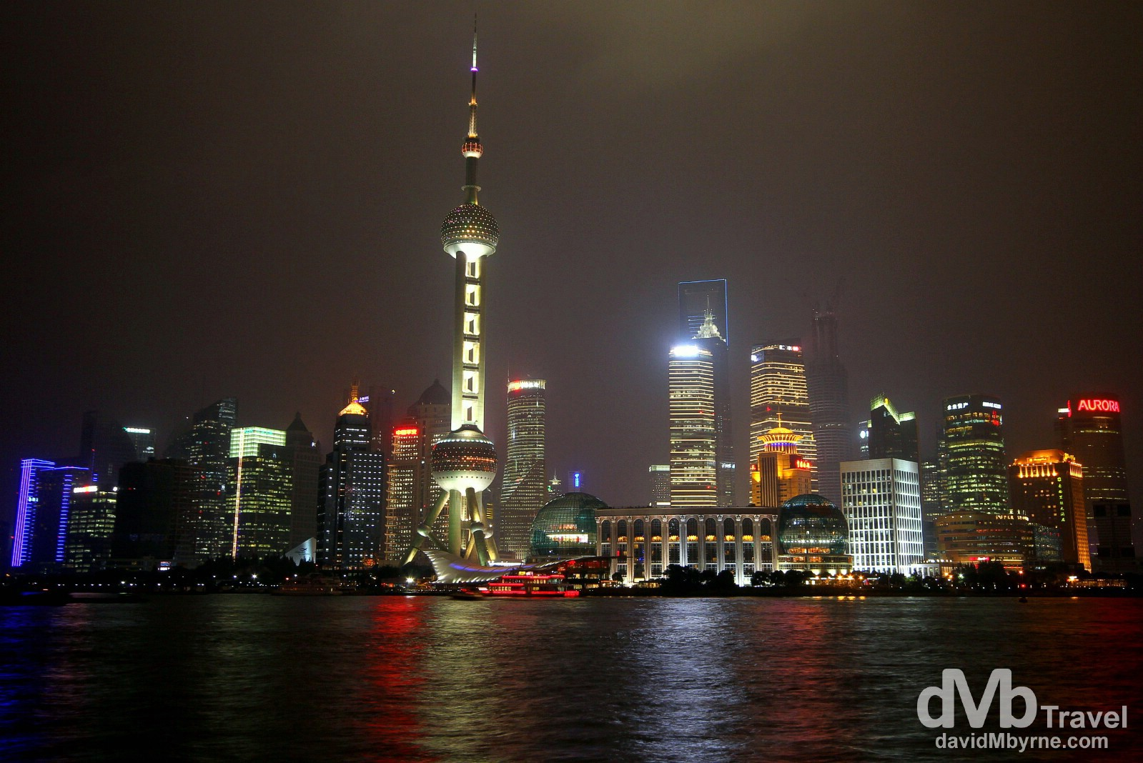 The new Pudong skyline on a dreary October night as seen from the Bund across the Huangpu River. Shanghai, China. October 22nd 2012.