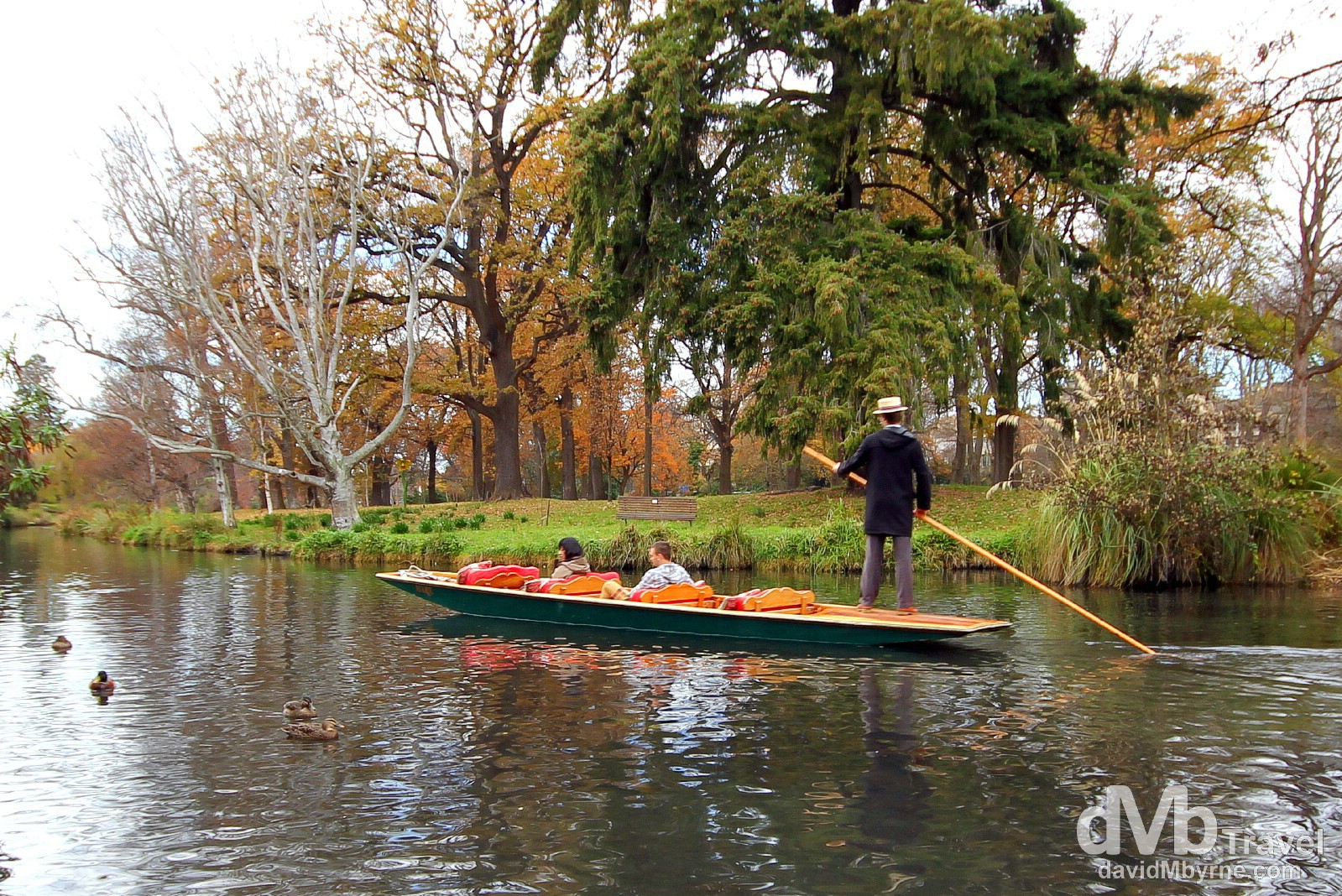 Punting on the Avon River in the Botanic Gardens, Christchurch, South Island, New Zealand. June 3rd 2012.