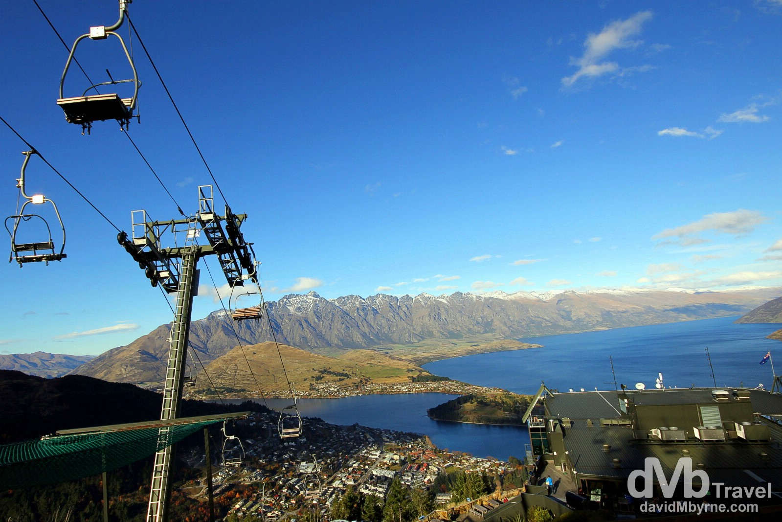 The Remarkables mountain range & Lake Wakatipu as seen from Bob's Peak overlooking Queenstown, South Island, New Zealand. May 23rd 2012.