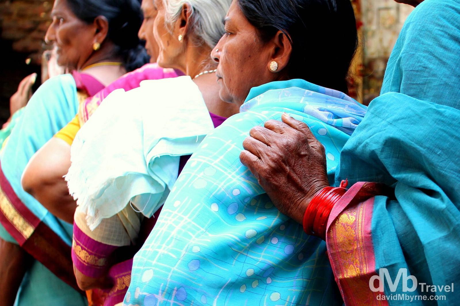 Queuing in the lanes of Old City Varanasi, Uttar Pradesh, India. October 13th 2012.