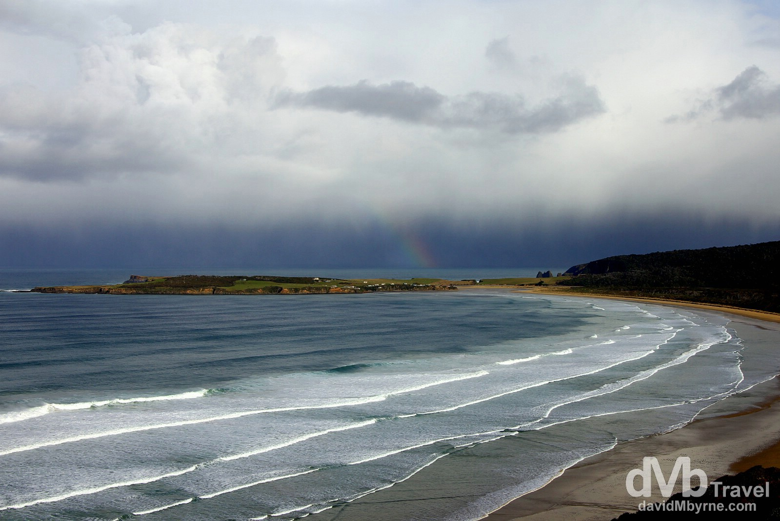 A faint rainbow & an approaching low front off shore of the Catlins Coast, South Island, New Zealand. May 28th 2012.