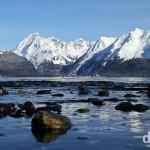 The peaks across Resurrection Bay from Lowell Point, Kenai Peninsula, Alaska, USA. March 15th 2013.
