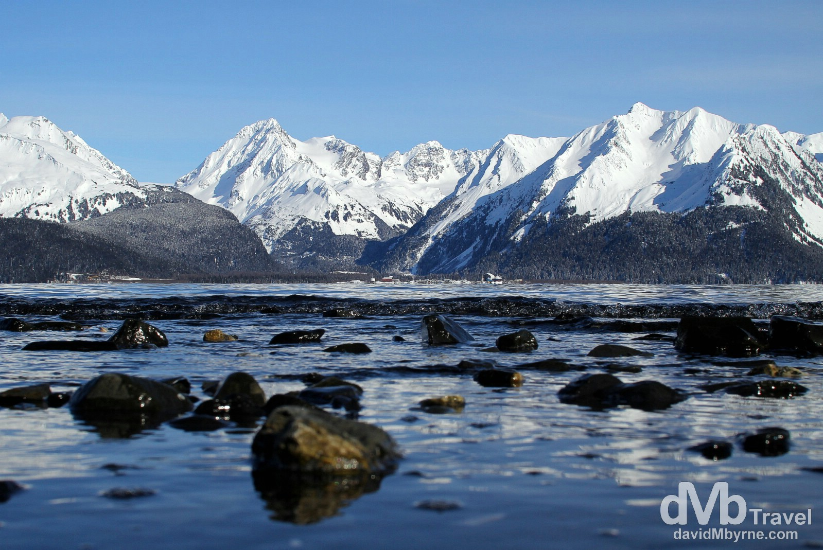 The peaks across Resurrection Bay from Lowell Point, Kenai Peninsula, Alaska, USA. March 15th 2013.