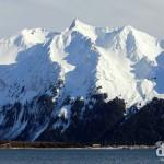 The peaks across Resurrection Bay from Lowell Point, Kenai Peninsula, Alaska, USA. March 13th 2013.