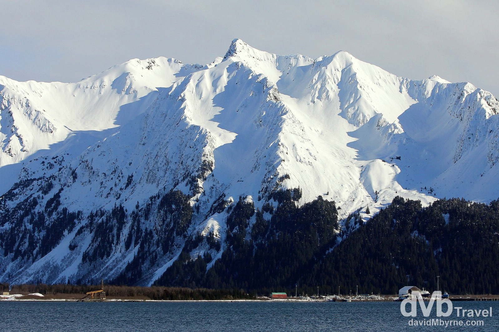 The peaks across Resurrection Bay from Lowell Point, Kenai Peninsula, Alaska, USA. March 13th 2013.