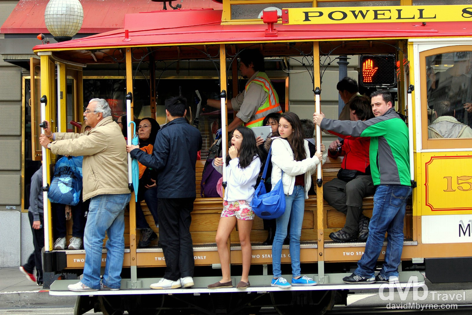 Riding the tram on Powell Street, San Francisco, California, USA. March 31st 2013.