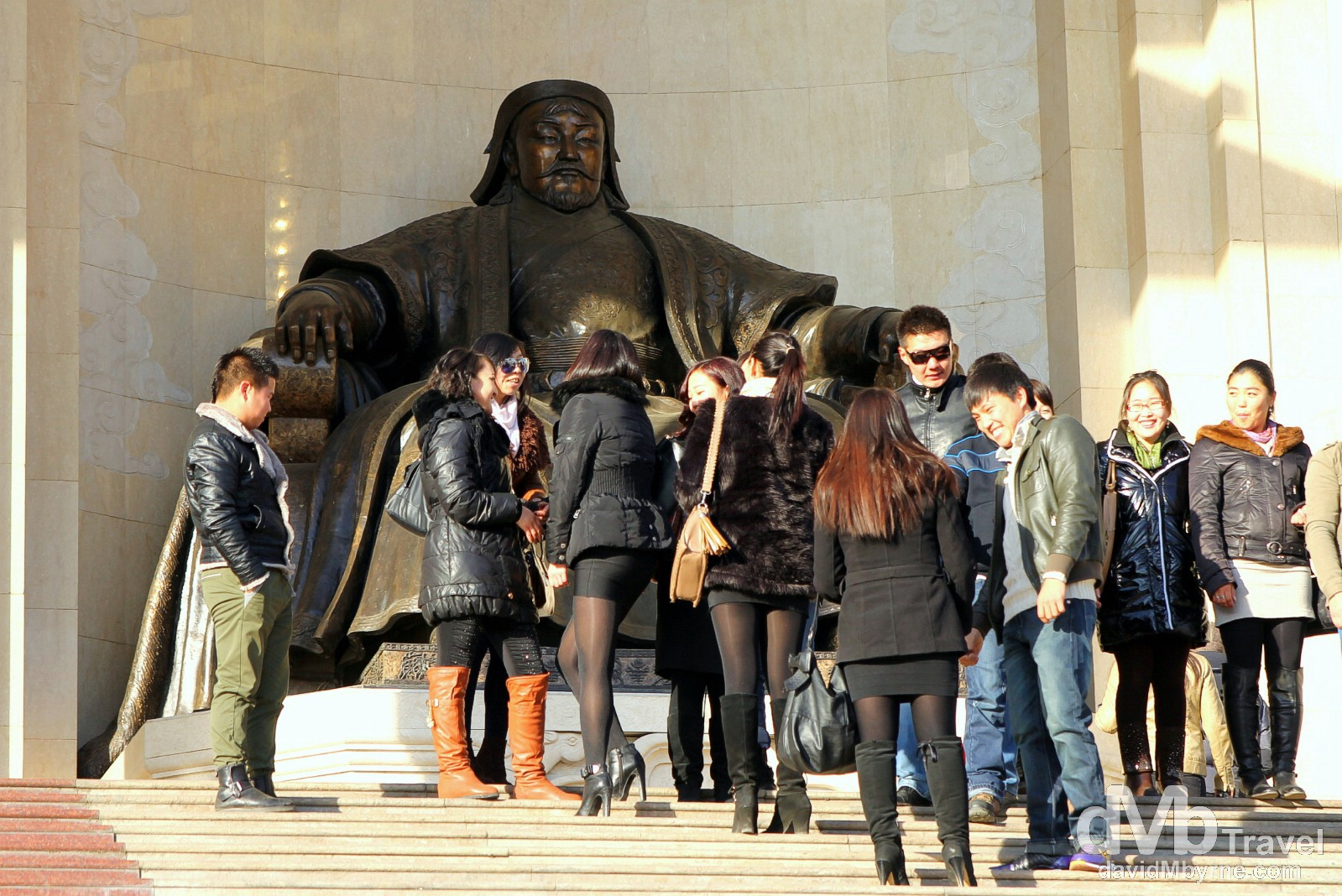 A massive statue of Genghis Khan, history's best known Mongolian, lording over his nation in Sükhbaatar Square, Ulan Bator, Mongolia. November 4th 2012.