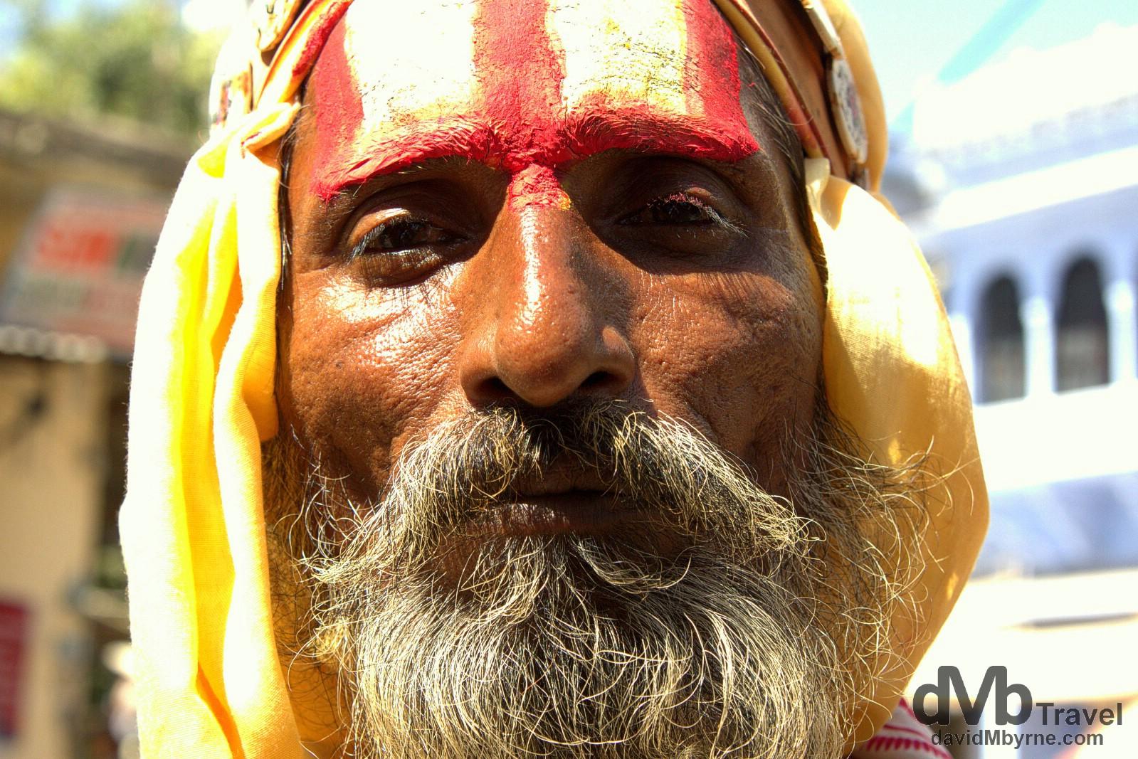 A Sadu, a Hindu holy man, on the streets of Pushkar, Rajasthan, India. October 3rd 2012.