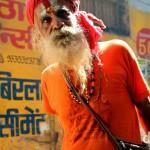 A sadhu, an ascetic Hindi holy man, in the narrow lanes of Old City Varanasi, Uttar Pradesh, India. October 13th 2012.