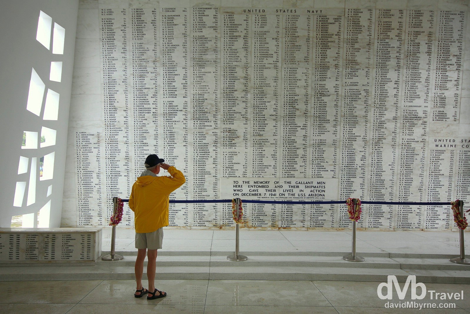Saluting fallen comrades at the USS Arizona Memorial in Pearl Harbor, Oahu, Hawaii, USA. March 10th 2013.