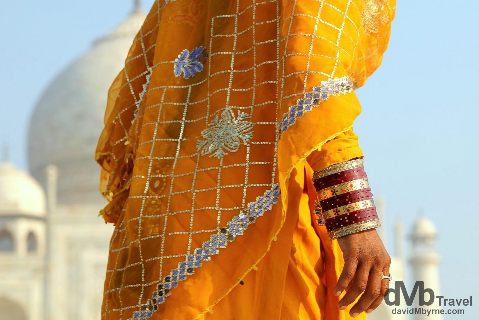 Sari at the TaJ Mahal, Agra, Uttar Pradesh, India. October 11th 2012.