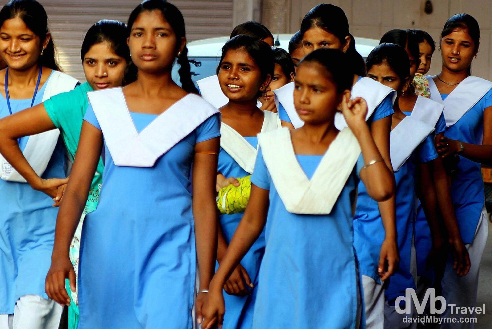 Schoolgirls on the streets of Bundi, Rajasthan, India. October 2nd 2012.