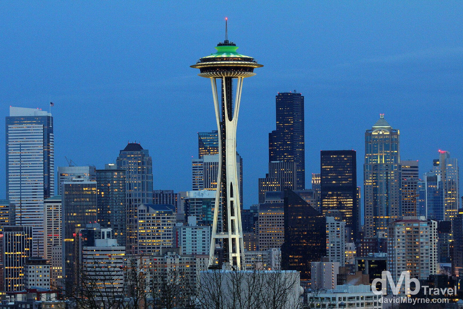 The Seattle city skyline at dusk from Kelly Park, Seattle, Washington, USA. March 26th 2013.