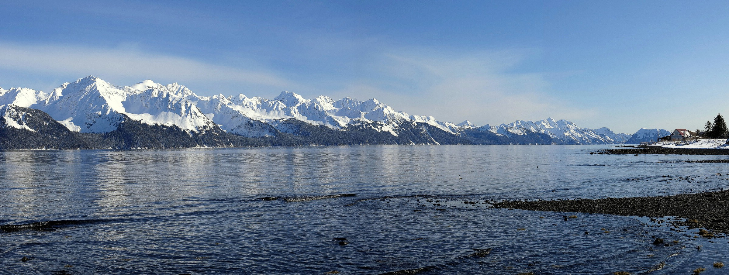 A panorama from the edge of Resurrection Bay, Lowell Point, Kenai Peninsula, Alaska, USA. March 13th 2013.
