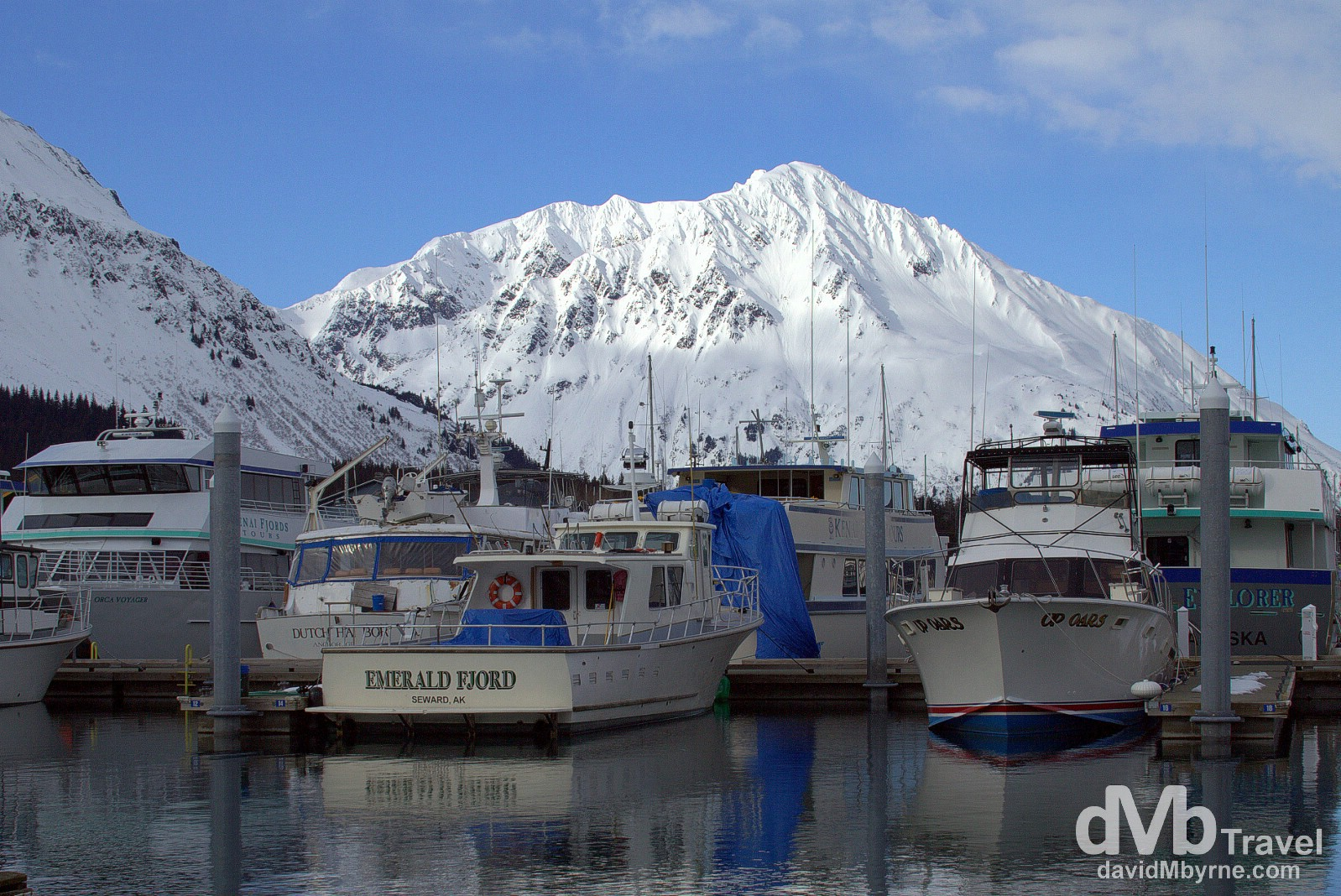 Boats in Seward Harbour, Seward, Kenai Peninsula, Alaska, USA. March 13th 2013.