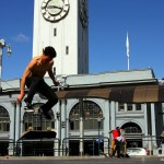 Skateboarding outside The Ferry Building, San Francisco, California, USA. March 30th 2013.