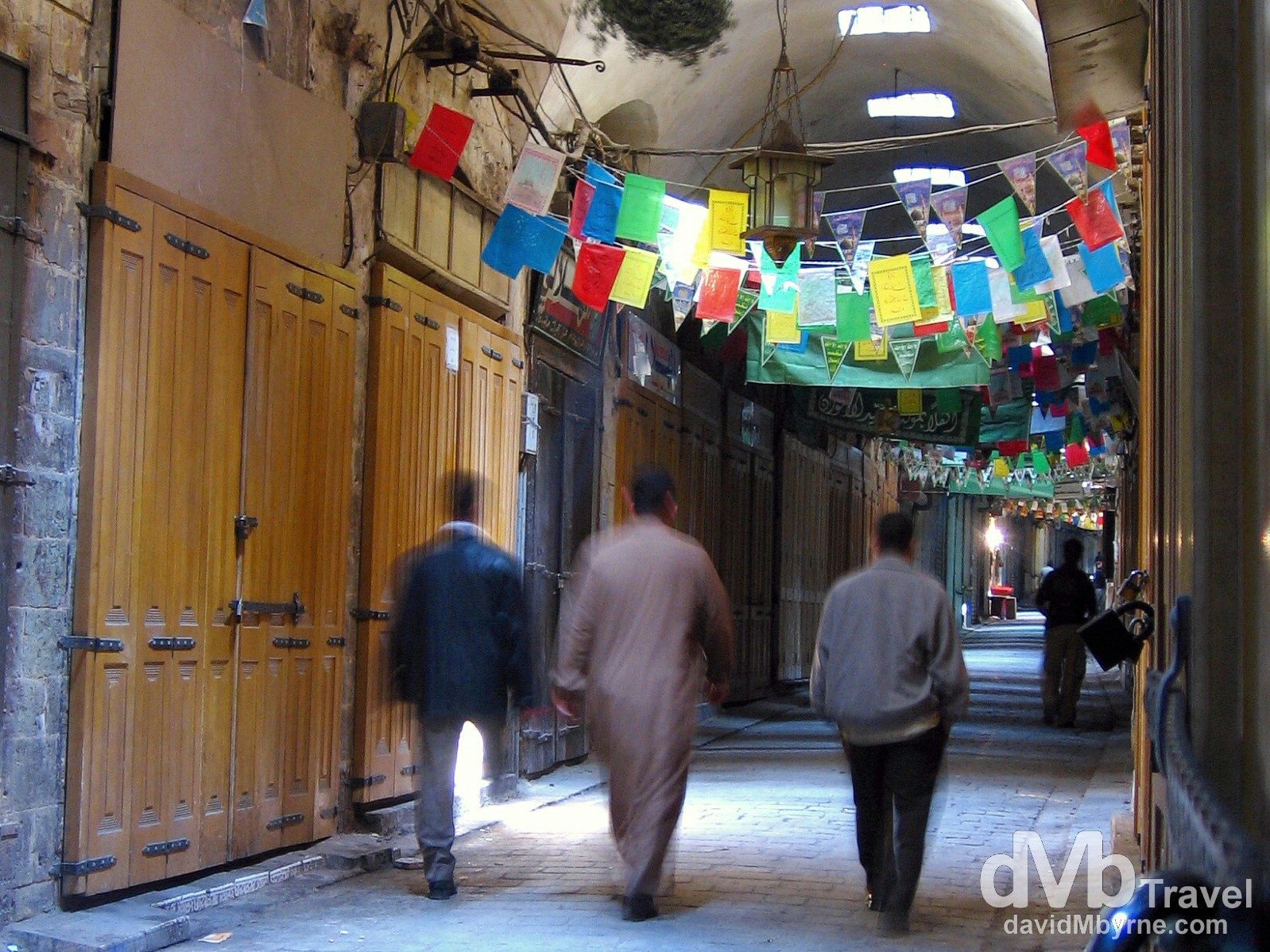 Walking in an empty section of al-Madina souq in Aleppo, Syria. May 9, 2008.