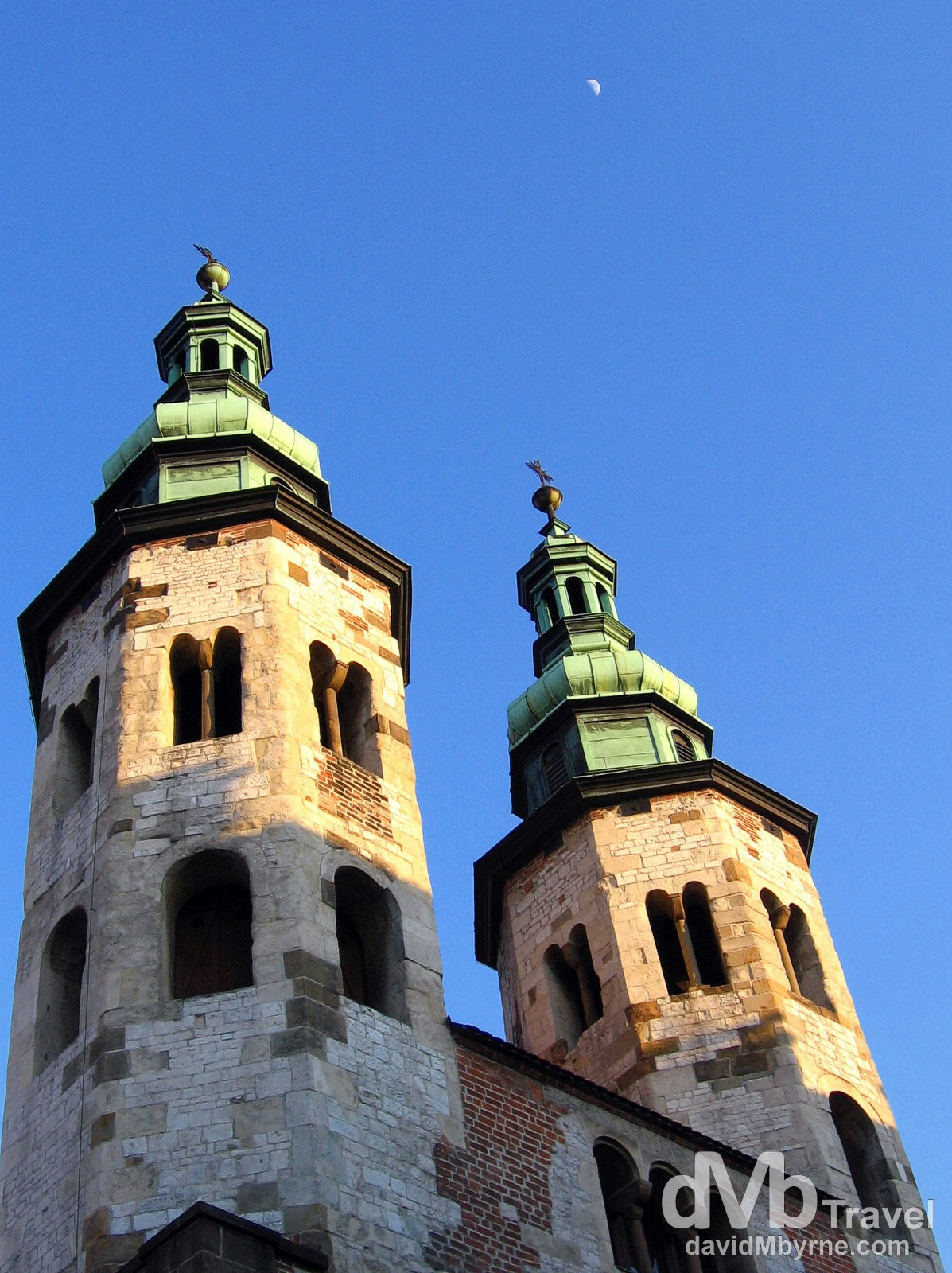 The twin towers of Saint Andrew's Church, one of the oldest buildings in the Old Town of Krakow, Poland. March 6th 2006.