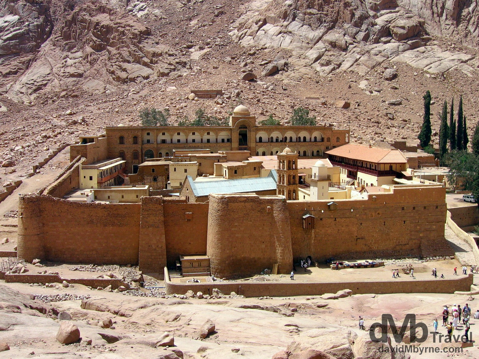 St. Katherine's monastery, and the adjacent Mt. Sinai, are located in the interior of the Sinai Peninsula in Egypt. This is one of the oldest continuously functioning Christian monasteries in the world; the Byzantine empress Helena had a small chapel built on the site where it was believed God spoke to Moses via the burning bush. The monastery, a UNESCO World Heritage Site, is dedicated to St Katherine, the legendary martyr from Alexandria who was tortured on a spiked wheel and then beheaded, and is home to 22 Greek Orthodox monks. The monastery library preserves the second largest collection of early codices and manuscripts in the world, outnumbered only by the Vatican Library, and it also houses some irreplaceable works of art. St. Katherine's Monastery, Sinai Peninsula, Egypt. April 22nd 2008.