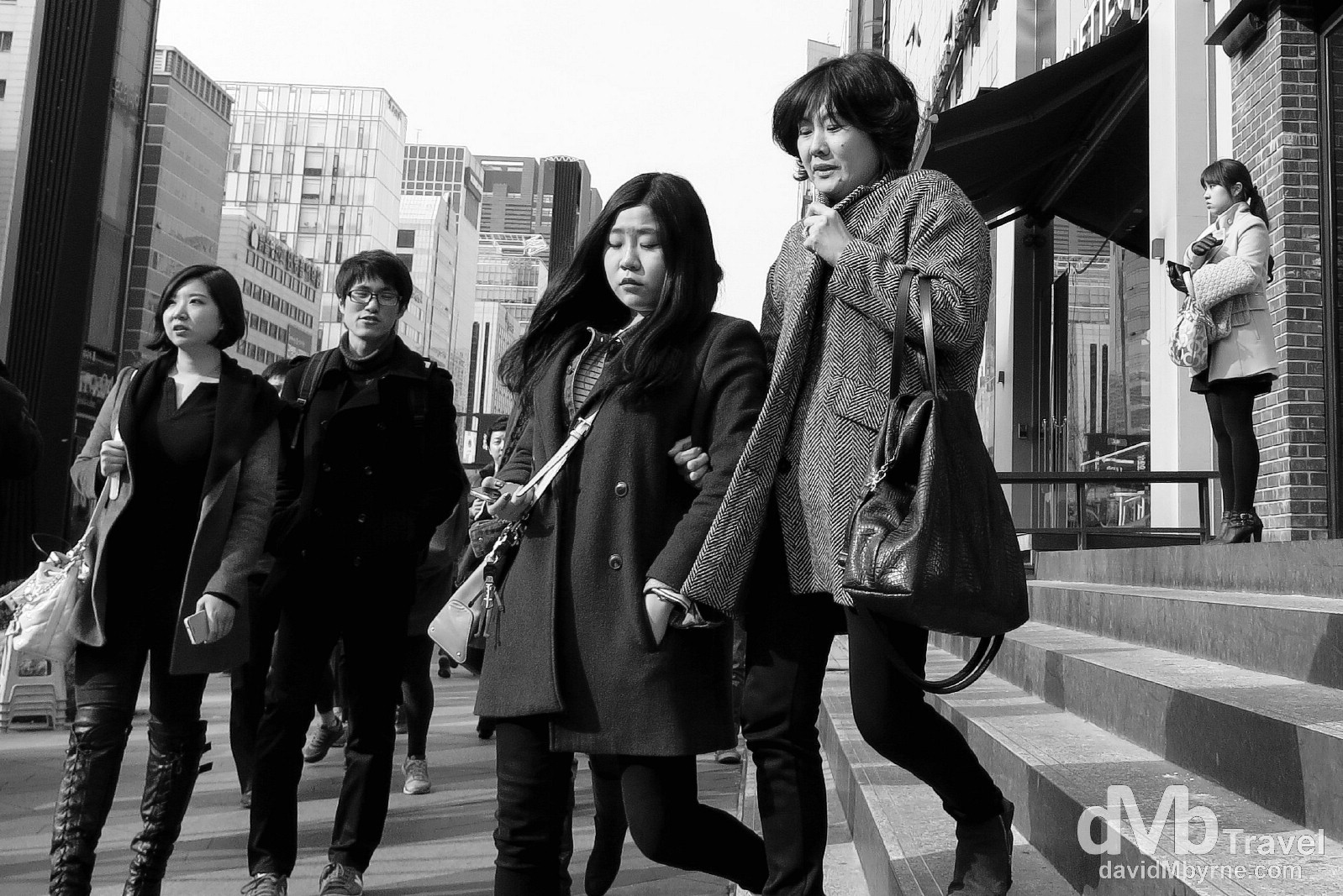 On the cold streets of the Gangnam district of Seoul, South Korea. February 26th 2013.