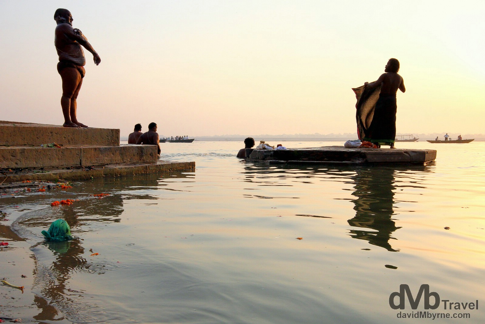 Bathing in the Ganges River at sunrise in Varanasi, Uttar Pradesh, India. October 14th 2012.