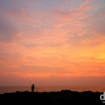 Fishing at sunset at Anjuna Beach in Goa, India. September 29th 2012.